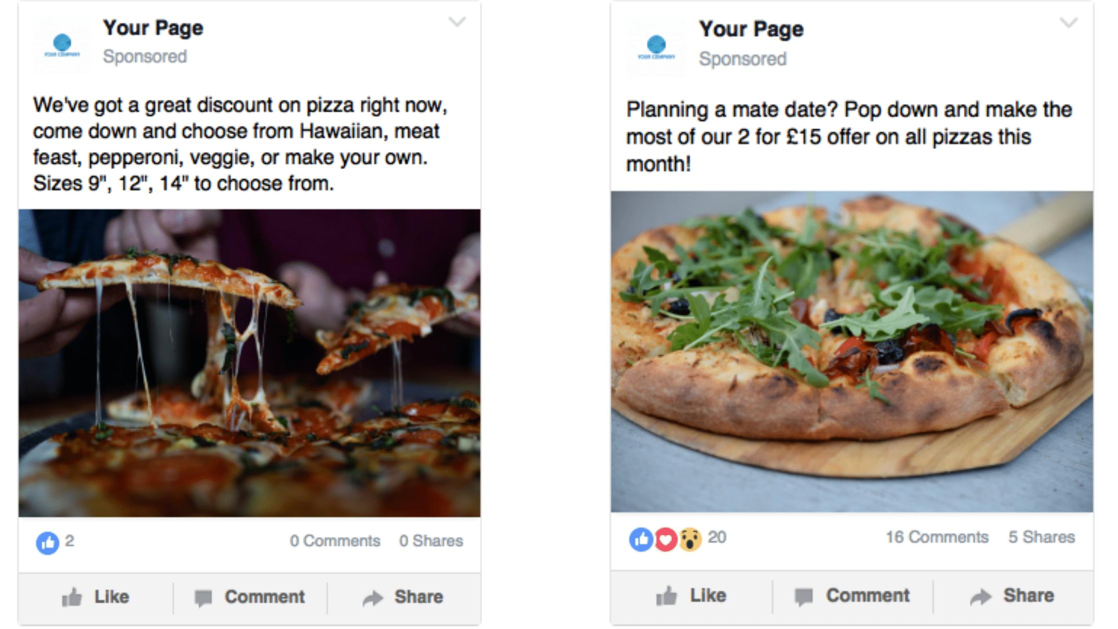 pizza offer social media